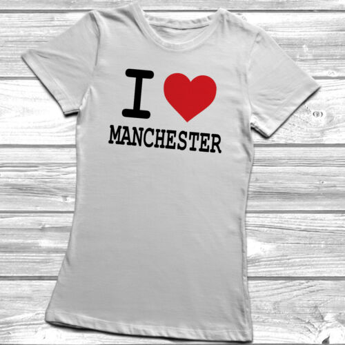 I Heart Love Manchester Ladies Womens Lady Fitted T-Shirt