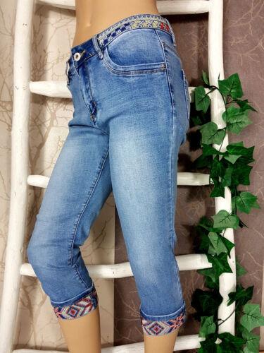 36-44 Zac/&Zoe Capri Bermuda Jeans mit Ethno Stickerei Gr