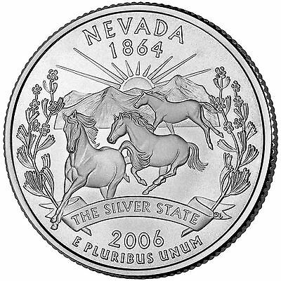 One Uncirculated 2006-D Nevada State Quarter From An Original US Mint Roll
