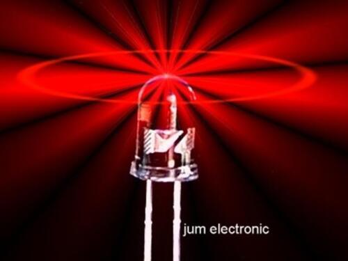 100 Pièces Diodes//DEL//3 mm rouge 3500mcd max Haute normes de fabrication