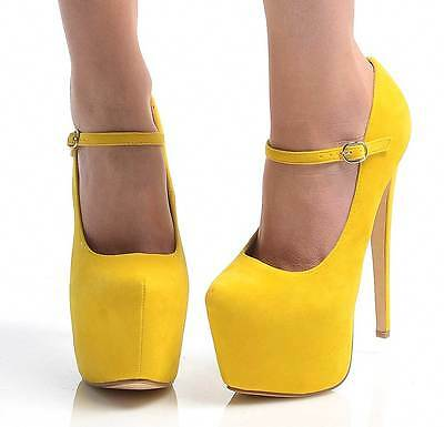NEW SUPER HIGH STILETTO HEEL STRAP BUCKLE CONCEALED PLATFORM PARTY SHOES