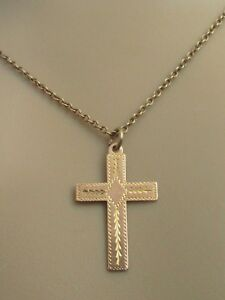 Vintage-9ct-Rose-Gold-Patterned-Cross-Pendant-And-9ct-Rose-Gold-Chain-18inches