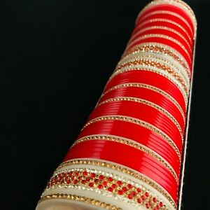 Details about Red Chura punjabi bride kangan choora bangle indian wedding  kara churi bracelet