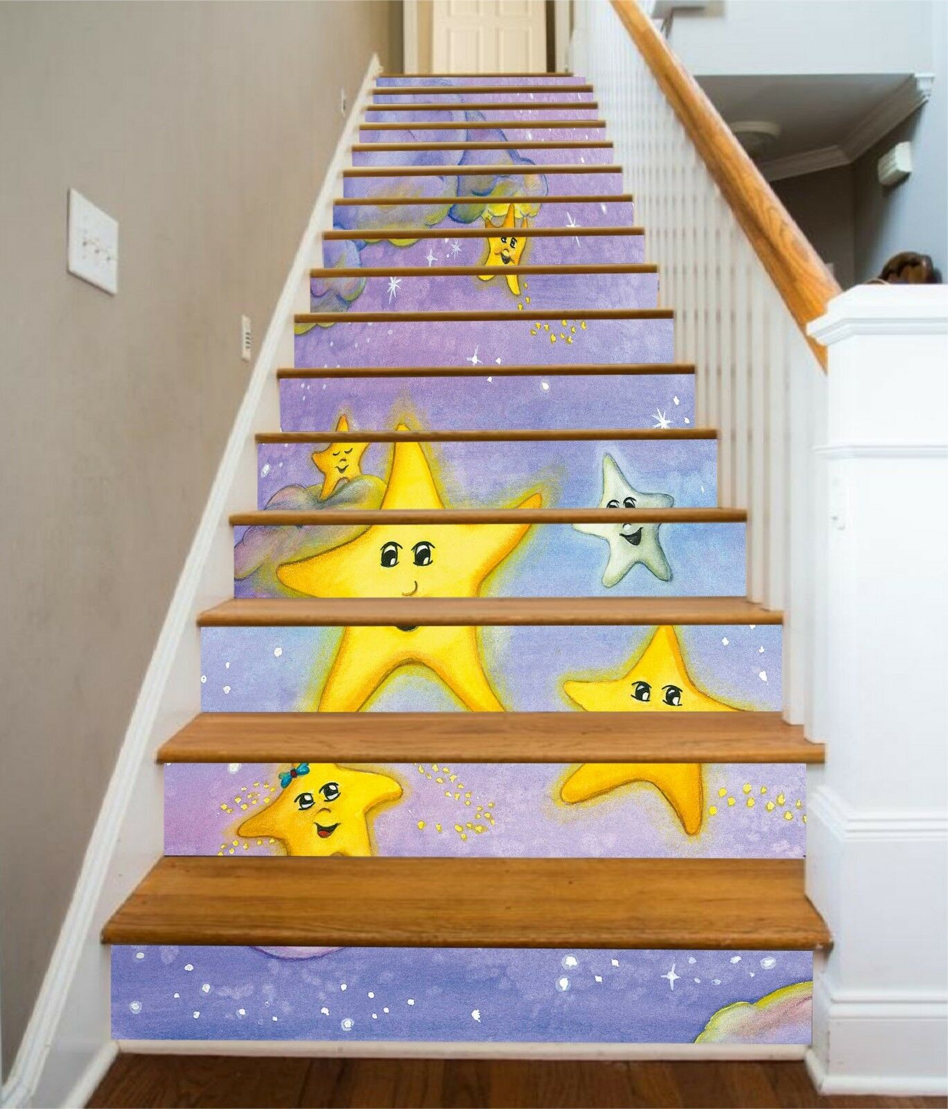 3D étoiles jaunes 2 contremarches Décoration Photo Murale Autocollant Vinyle Papier Peint UK