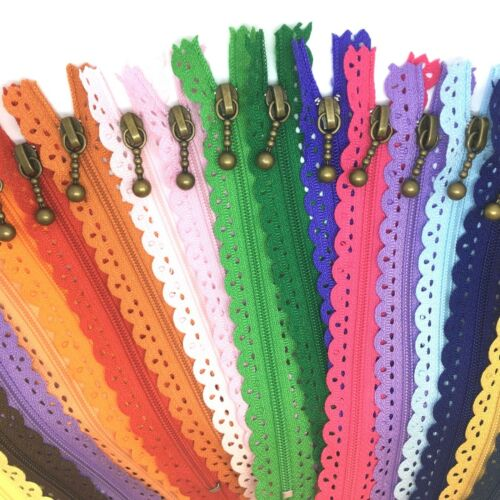30cms Floral Closed End Nylon Lace Zips 30cms Zippers