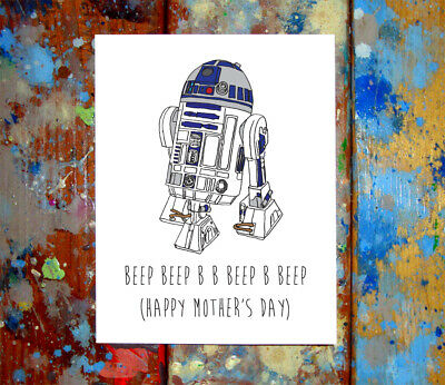 R2D2 Mother/'s Day Greeting Card Set Funny Sci Fi Star Wars Drawing Unique Art