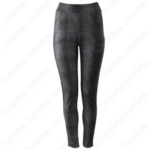 NEW LADIES DENIM LOOK DESIGNER STRIPE LEGGINGS WOMENS STRETCH FIT JEGGINGS PANTS