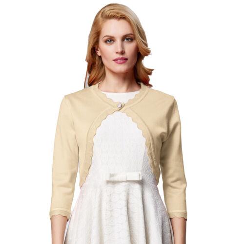 Damen einfarbig Schulterjacke ein Knopf 3//4 Ärmel Strick Bolero Top