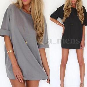 ZANZEA-Women-Plus-Size-Beach-Holiday-Top-Blouse-T-shirt-Tee-Sundress-Short-Dress