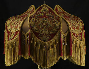 Victorian floor lamp shade red imperial chenille fabric w gold silk image is loading victorian floor lamp shade red imperial chenille fabric mozeypictures Image collections
