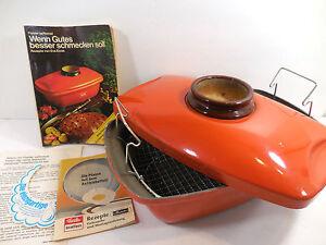 Vintage-Fissler-Asta-Enamelware-Orange-Roasting-Pan-Covered-Cooker-Dish-Germany