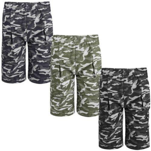 Bambini Mimetico Pois Stampa Multitasche Pantaloncini Militare Cargo Pantaloni