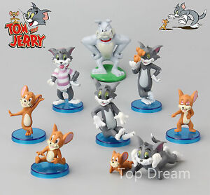9x Cartoon Tom And Jerry Pvc Animation Action Figures Cake