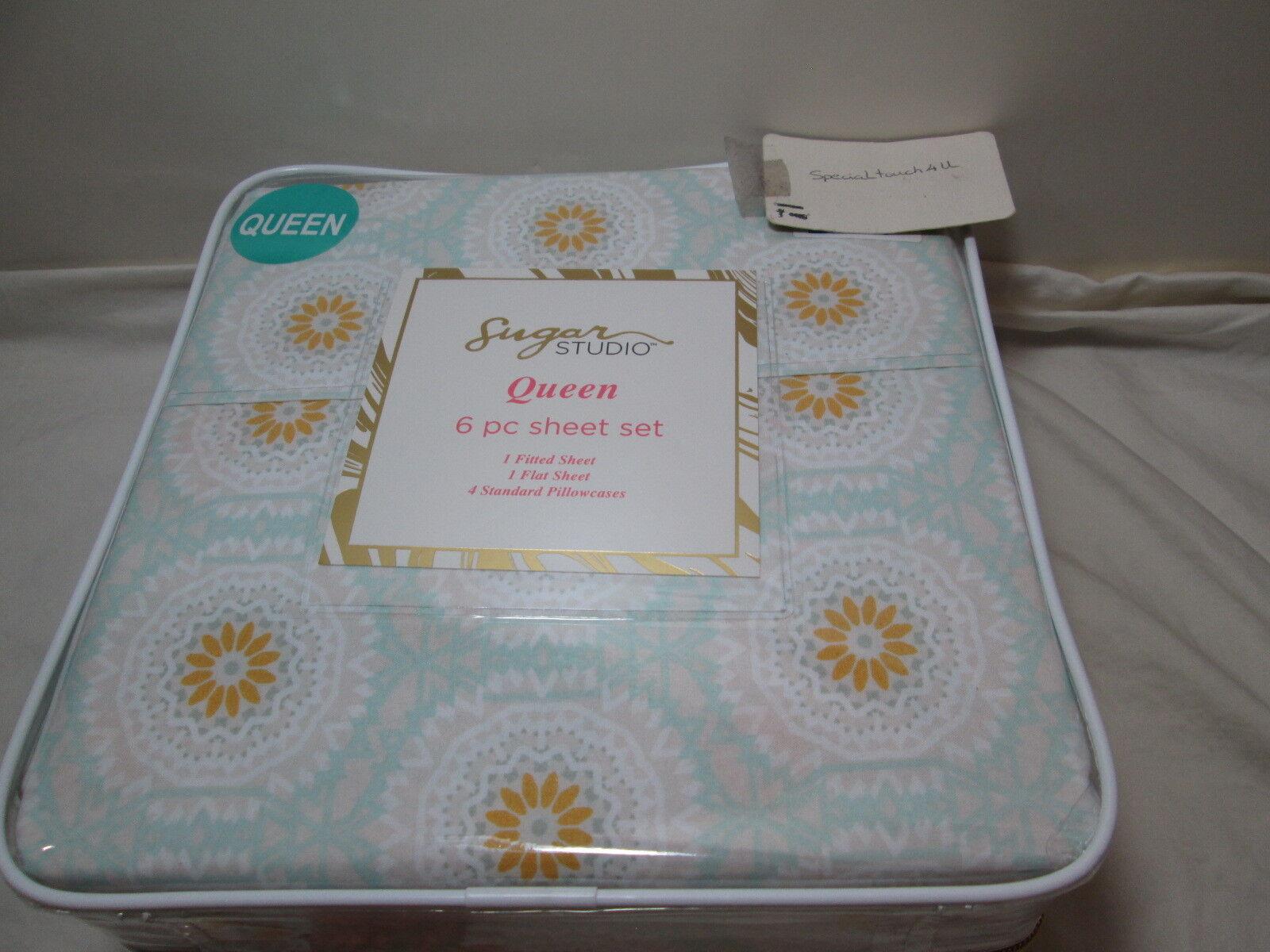 New Sugar Studio 6 pc Queen Sheet Set MEDALLION  Gold, Beige, Aqua Grün NIP