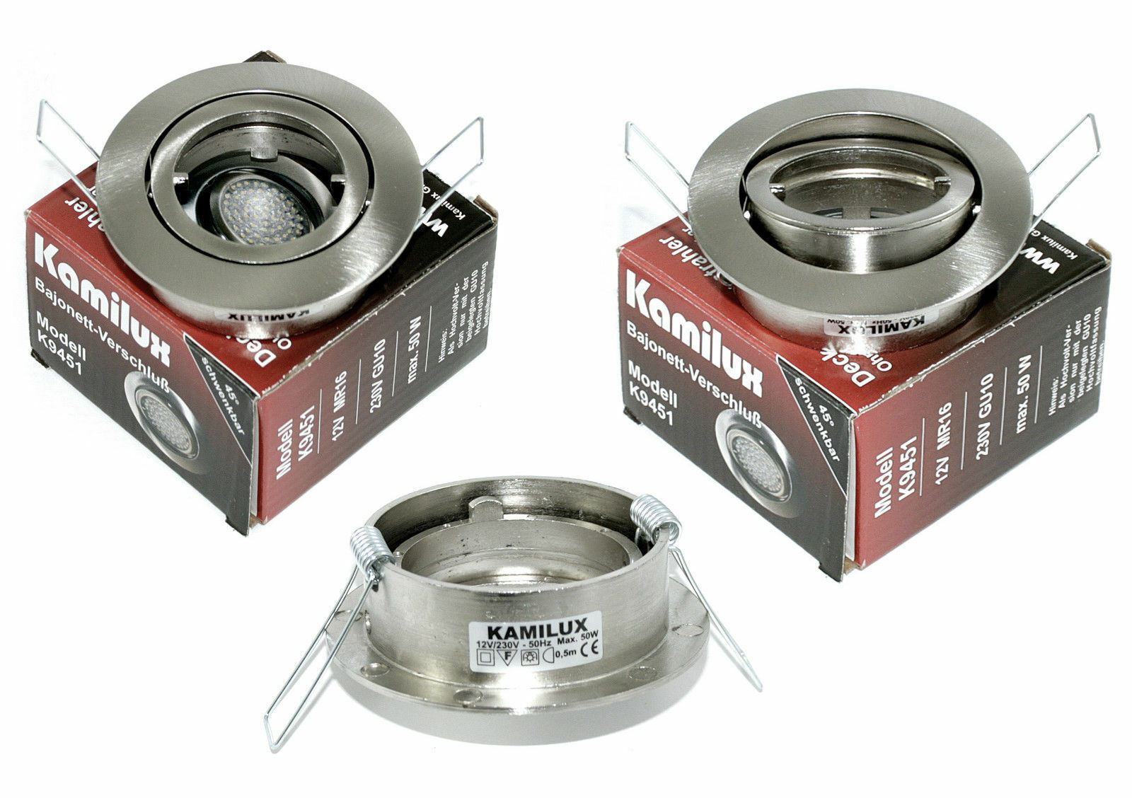 12V   230V Einbauleuchte Halogen oder LED, ohne Leuchtmittel, GU10 MR16 Fassung