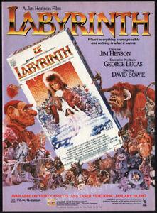 LABYRINTH-Original-1987-print-AD-video-movie-promo-DAVID-BOWIE-JIM-HENSON