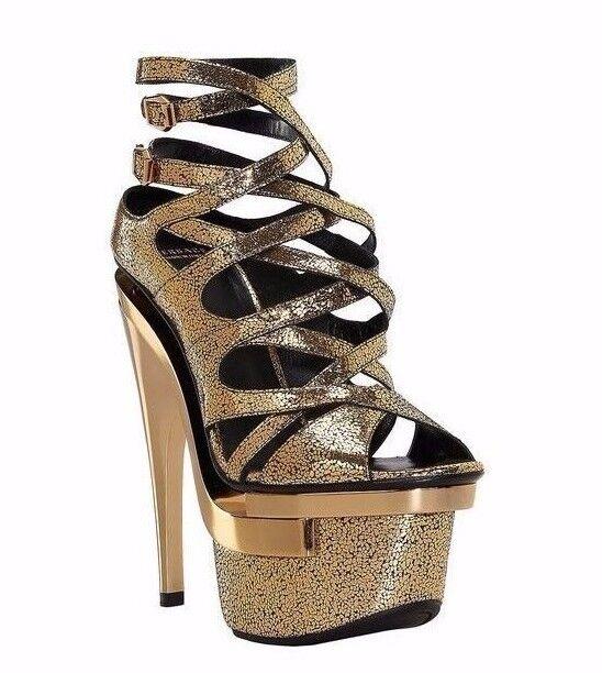 New VERSACE Gold schuhes  Leder Triple Platform Sandals schuhes Gold 38.5 - 8.5 f43818