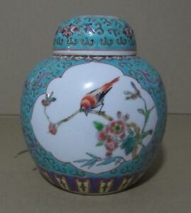 Tibor-Porcelana-China-decorado-pajaro-flores-15-x-13-cm-Vintage