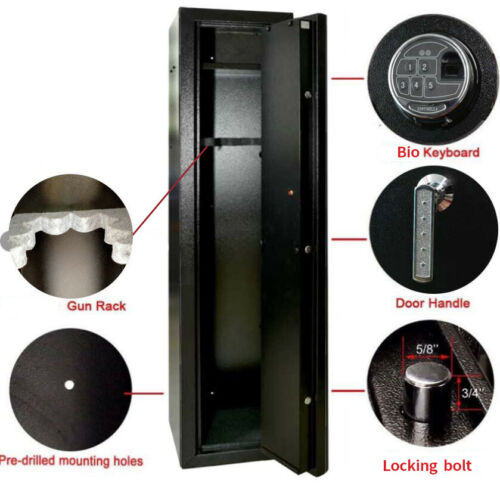 Details about  /Quick Access Large Biometric Rifle and Gun Safe with Back up keys