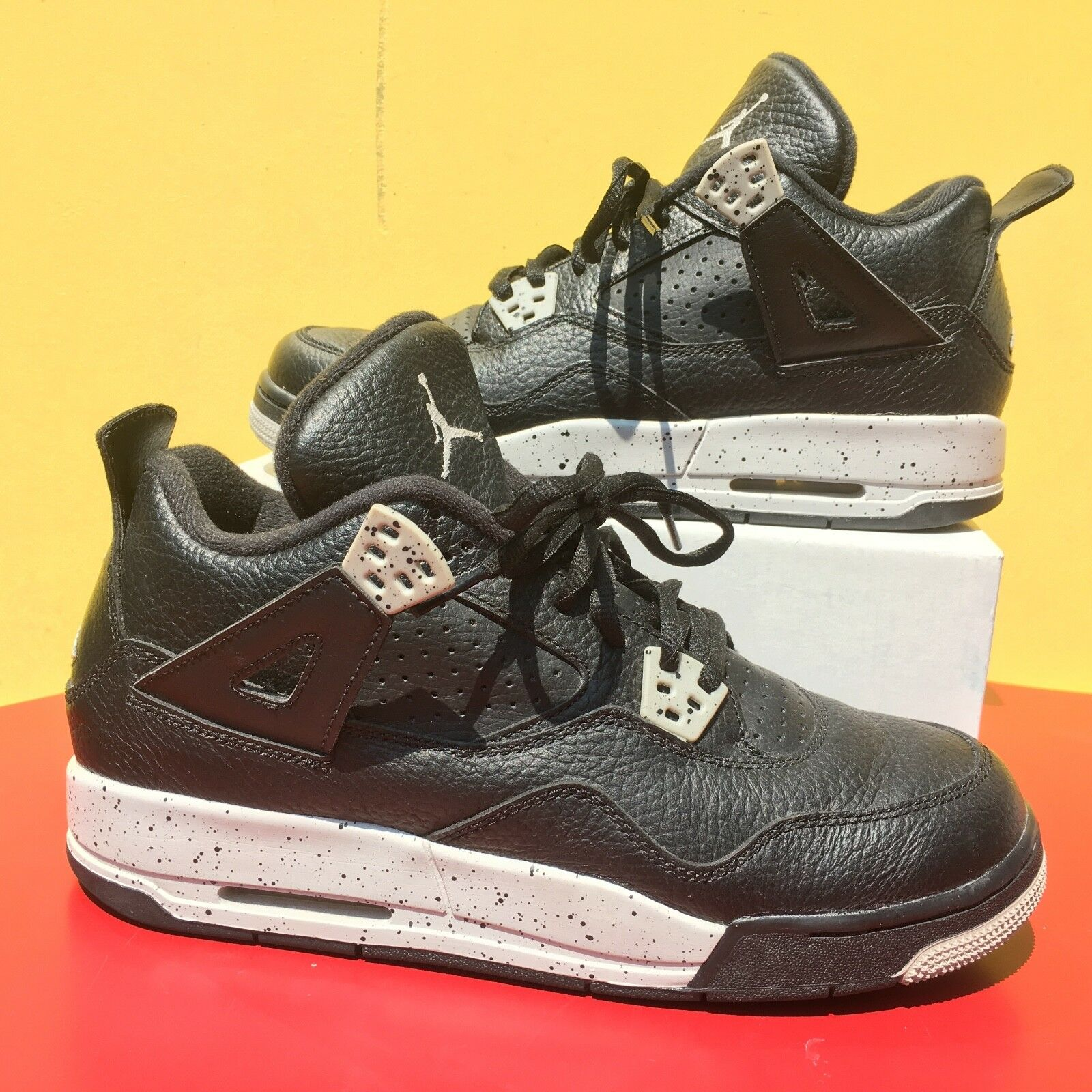 d7c1b97acdb2 2014 Air Jordan 4 IV Oreo 7y Black Black Black Cement Basketball Shoes  bf6475