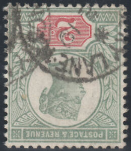 1887-JUBILEE-SG199-2d-GREEN-amp-VERMILION-WATERMARK-INVERTED-RPS-CERT-VERY-RARE