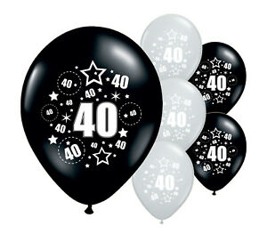 20-x-40TH-BIRTHDAY-BLACK-AND-SILVER-12-034-HELIUM-OR-AIRFILL-BALLOONS-PA