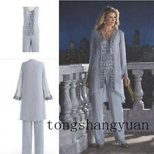 Mother Of The Bride Pant Suit Chiffon Beads Wedding Mother's Groom Evening Dress