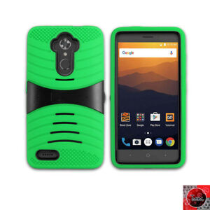 new product a81a7 04aa0 Details about For Metro Pcs ZTE ZMAX Pro/ Z981 Rugged Armor Hybrid  Kickstand Cover Case