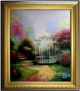 Framed-Quality-Hand-Painted-Oil-Painting-Flowering-Garden-with-Gazebo-20x24in
