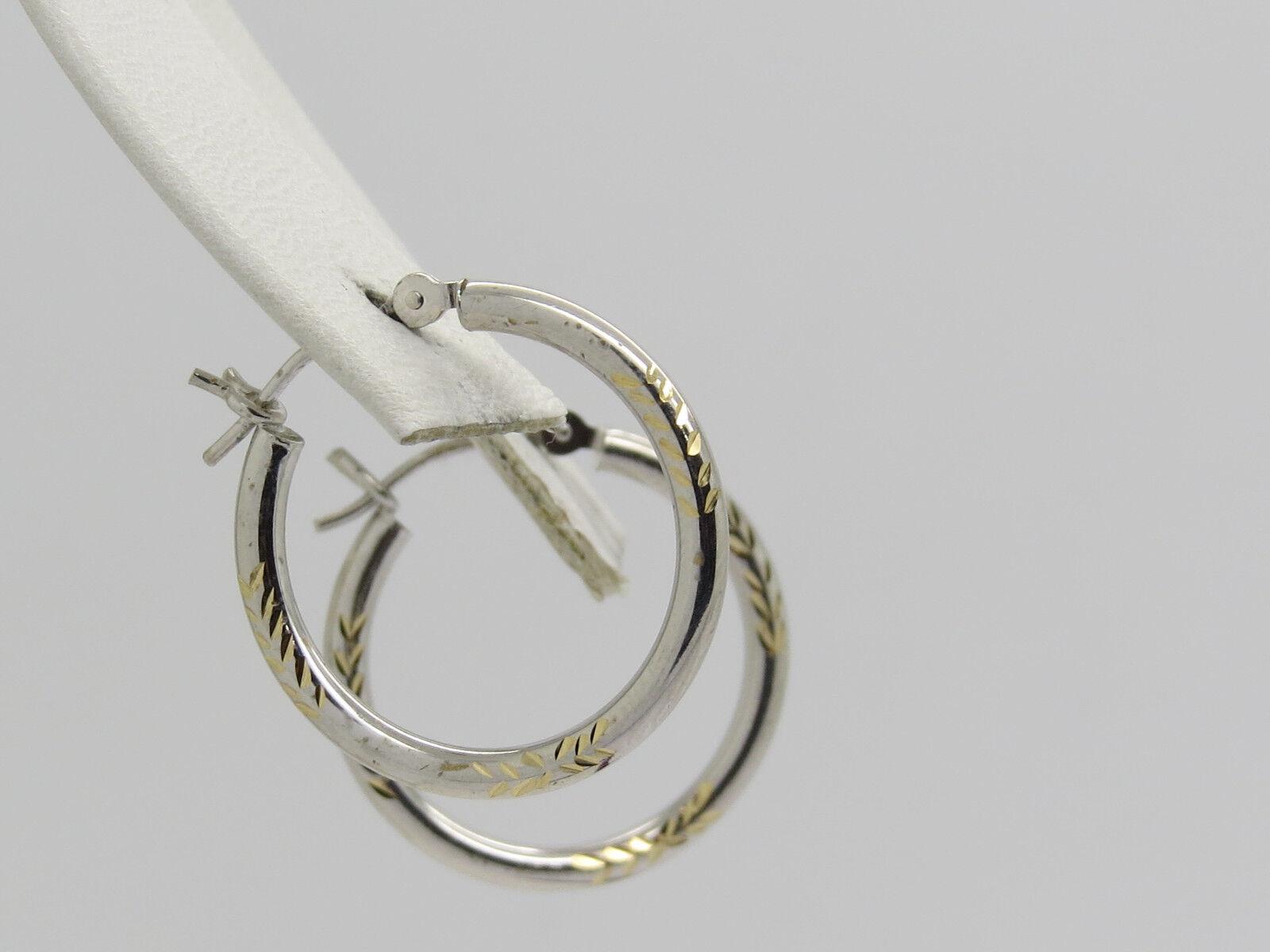9b51355e6e969 Cut Diamond gold Yellow White 14k HOLLOW THIN 1.9mm Earrings 8 5 ...