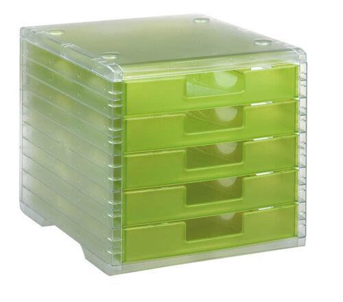grün mit 5 Schubladen styro Schubladenbox Lightbox