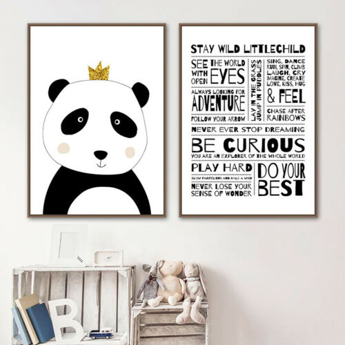 Panda Kids Rules Black White Poster Nursery Canvas Print Baby Child Rom Decor