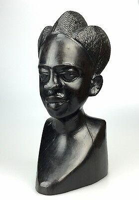 Ebony Wood Carved Tribal Bust Sculpture of a Woman