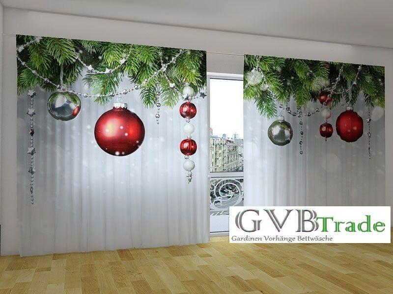 Fotogardinen  Weihnachten  Fotovorhang Panorama Vorhang Gardinen, Auf Maß | Exquisite (in) Verarbeitung