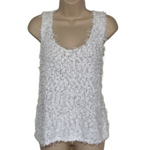 Lou-And-Gray-Tank-Top-Women-039-s-Size-Large-White-Fringe-Sweater-Tank-Cotton-Blend