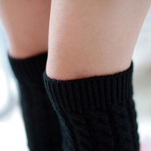 Women Crochet Knitted Over Knee Thigh High Leg Warmers Long Boot Socks Stockings