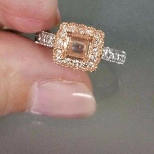 14kt white gold and 14kt pink gold lace ring for a 4.5mm princess cut center