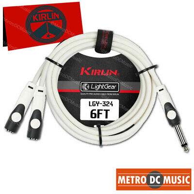 """4-Pack Kirlin 6 ft 1//4/"""" TS Mono Male to Dual Female Y Splitter Patch Cable NEW"""