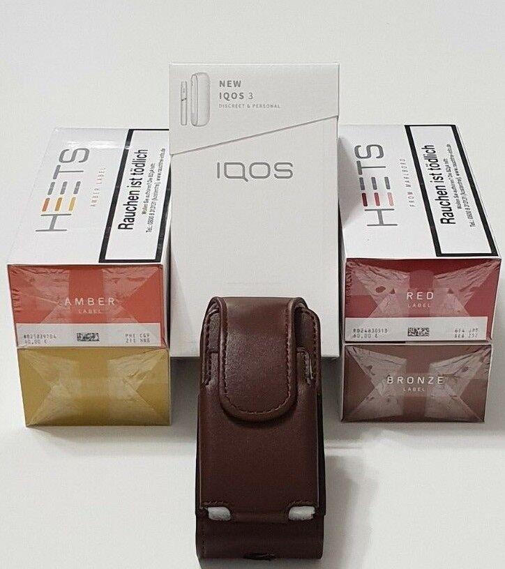 IQOS 3.0.Starterkit Weiß mit 100 Heets und Braun Etui nach Regisitrierung