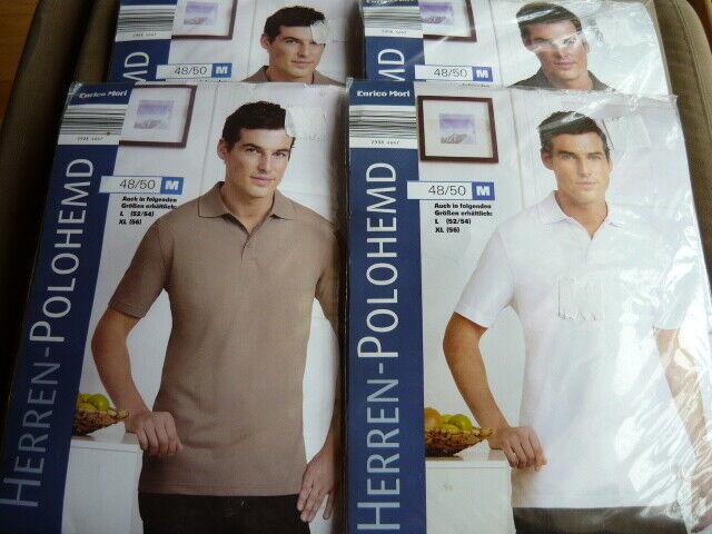 4 x Poloshirt T-Shirt M 48/50 NEU OVP Weiß Beige Braun Schwarz Blau Herren