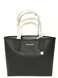 39445e9e236354 NWT Michael Kors Saige Med Reversible Tote Purse Black Pearl Grey ...