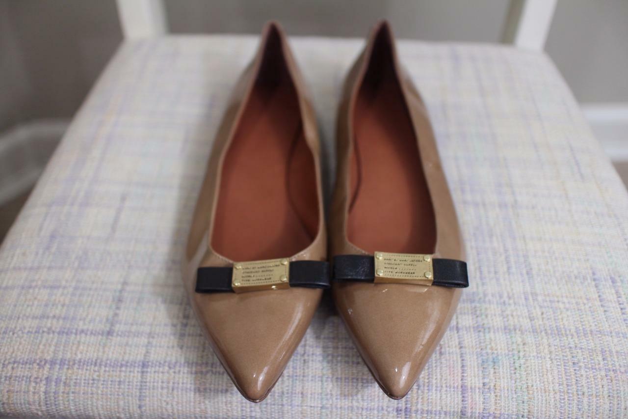 Marc Jacobs Women's Tan Patent Leather Pointed Toe Flats size 39/9 (SH10000