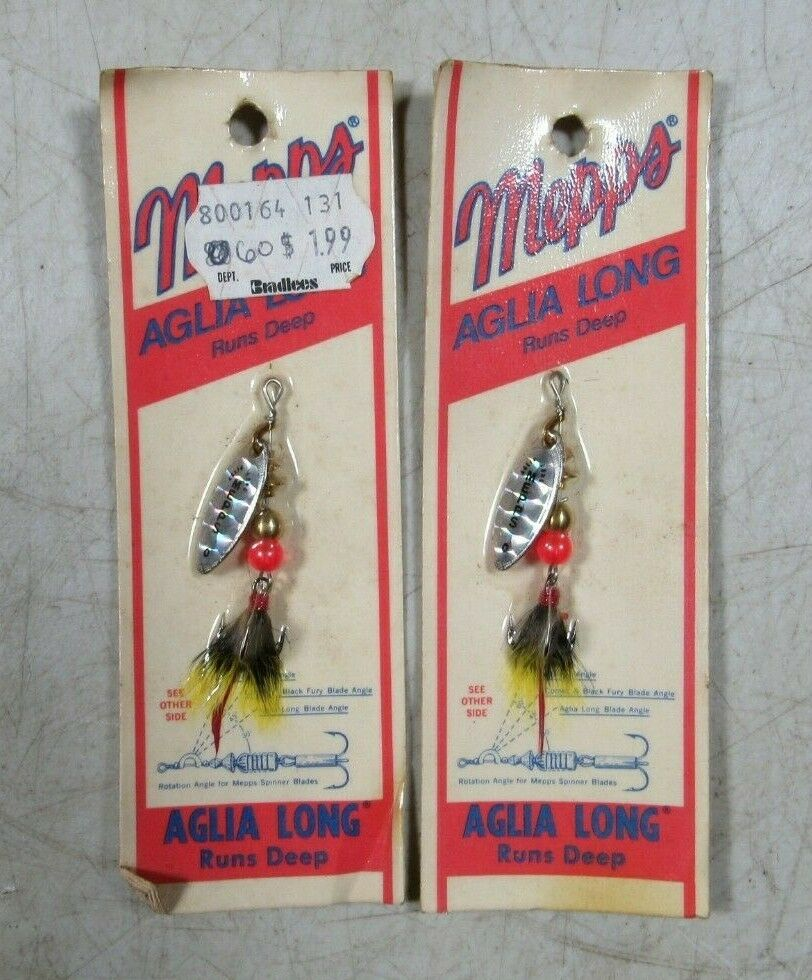 2 Vintage Mepps Aglia Long Runs Deep Zero French Spinner Fishing Lures NOS MOC