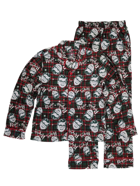 A Christmas Story Ralphie Mens Green Red Plaid Flannel Sleepwear Pajama Set