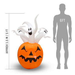Inflatable Halloween Pumpkin with LED Lights - 1.5m (5ft) Indoor or Outdoor Use