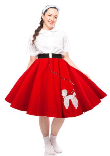 "28/"" Made in USA Sz Small 22/"" Hey Viv 50s Felt Sock Hop Poodle Circle Skirt"