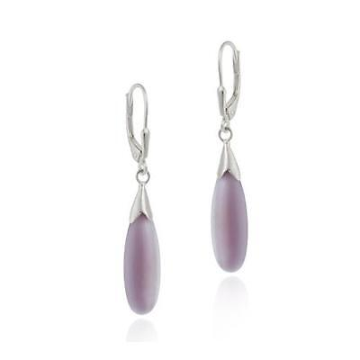 925 Silver Lavender Cats Eye Teardrop Leverback Earrings