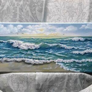 Art18-034-9-034-oil-painting-Seascape-sunset-waves-surf-beach-evening-landscape