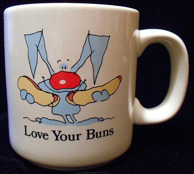 Coffee Mug Tea Cup Love Your Buns Russ Berrie Rabbit Hotdogs  #8014 5n51