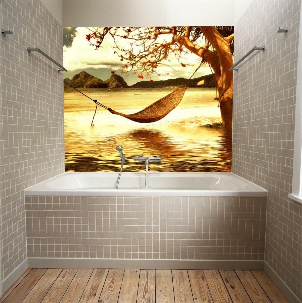 3D Die hängematte im Wasser63 Fototapeten Wandbild Fototapete BildTapete Familie